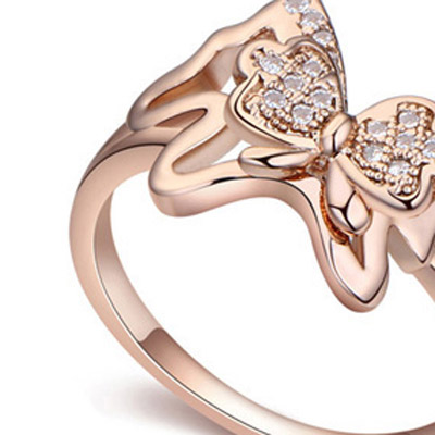 White & Rose Gold Diamond Butterfly - Click Image to Close