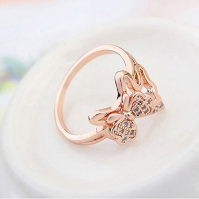 White & Rose Gold Diamond Butterfly