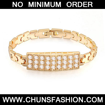 White & Champagne Gold Diamond Rectangular