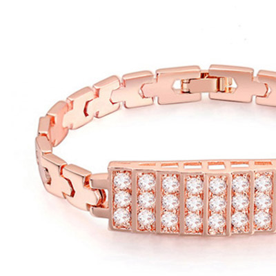 White & Rose Gold Diamond Rectangular