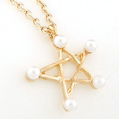 Gold Pearl Star Pendant Necklace
