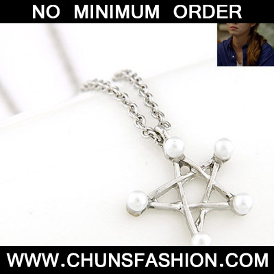 Silver Pearl Star Pendant Necklace