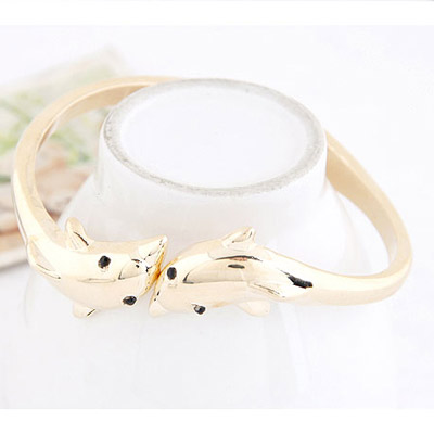 Gold Dolphins Shape Bangle