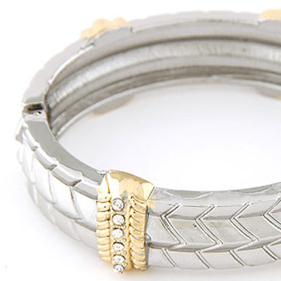 Silver Diamond Wave Bangle