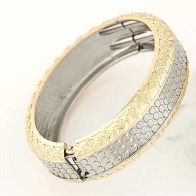 Gold & Silver Dot Carved Bangle