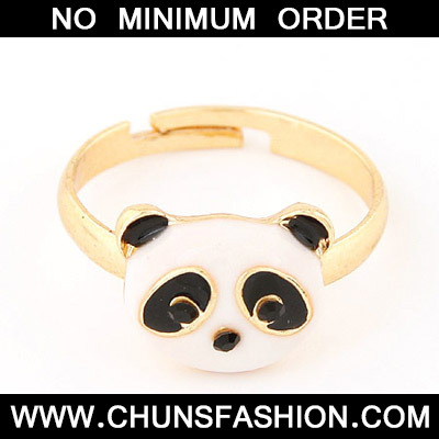 Black & White Panda Head Ring