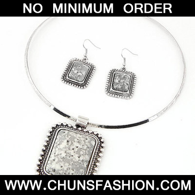 Silver Square Pendant Jewelry Set