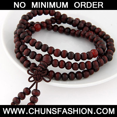 Claret red Beads Multilayer Wood Bracele
