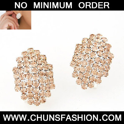 Champagne Gold Diamond Geomaterical Shape Stud Earring