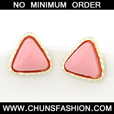 Pink triangle shape Stud Earring