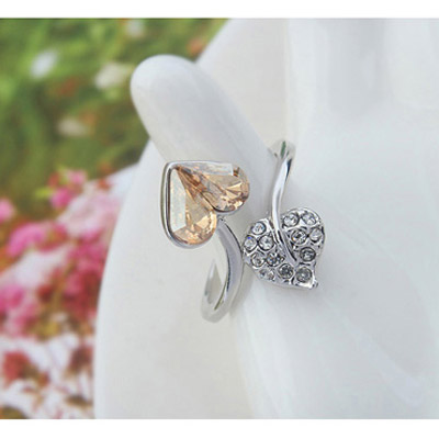 Gold Diamond Heart Shape Crystal Ring