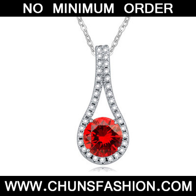 Garnet Red Diamond Geometric Shape Pendant