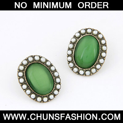 Green Oval Shape Stud Earring