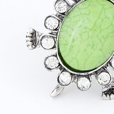 Green Diamond Tortoise Shape Ring