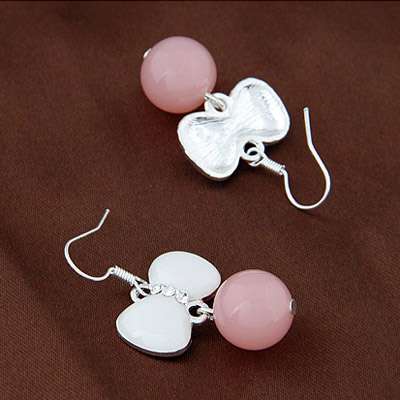 Pink Diamond Bowknot Shape Earring