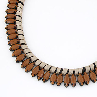 Brown Beads Weave Necklace