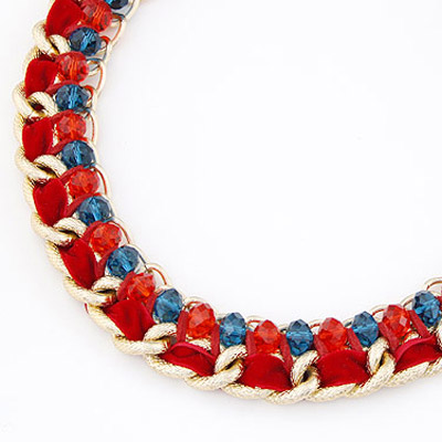 Red Beads Weave Necklace