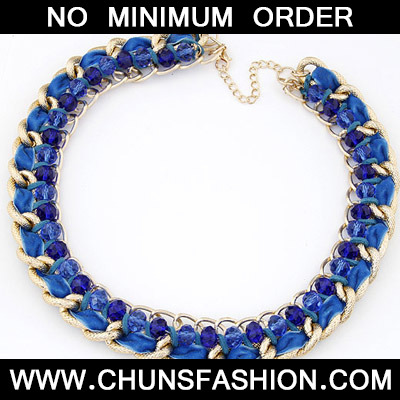 Blue Beads Weave Necklace