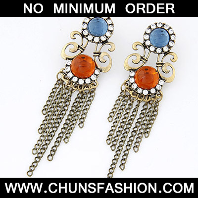 Orange Diamond Tessal Stud Earring