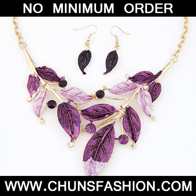 Purple Diamond Leaf Shape Jewelry Set