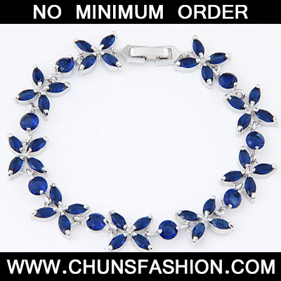 Dark Blue Diamond Flower Crystal Bracelet