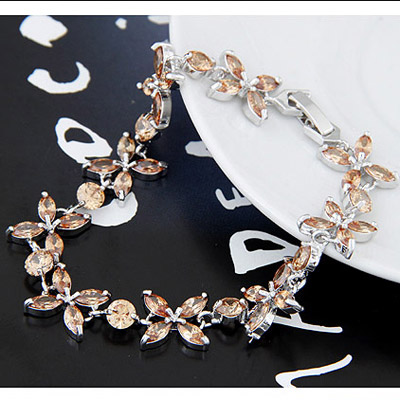 Champagne Gold Diamond Flower Crystal Bracelet