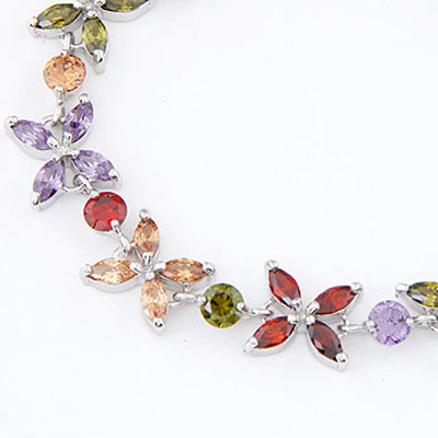 MultiDiamond Flower Crystal Bracelet