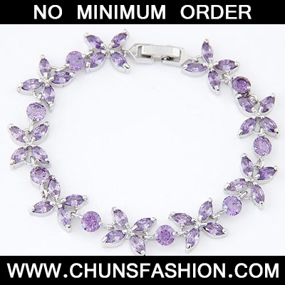 Purple Diamond Flower Crystal Bracelet