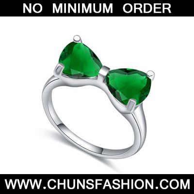 Green Bowknot Shape Zircon Crystal Ring