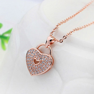 White & Rose Gold Diamond Heart
