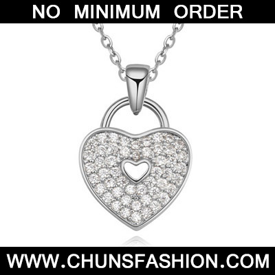 White Diamond Heart Pendant Zircon Crystal