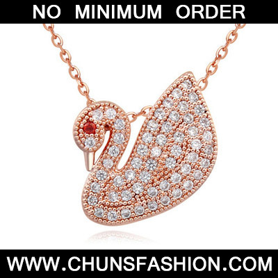 White & Rose Gold Diamond Goose