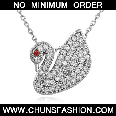 White Diamond Goose Pendant Zircon Crystal