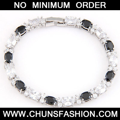 Black & White Zircon Crystal Bracelet - Click Image to Close