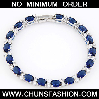 Navy Blue Zircon Crystal Bracelet