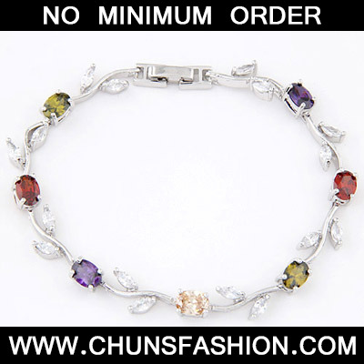 MultiDiamond Leaf Shape Zircon Crystal Bracelet