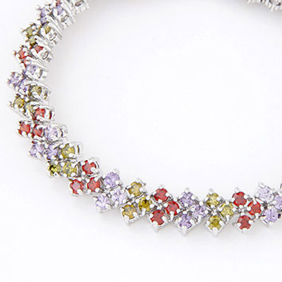 MultiDiamond Square Shape Zircon Crystal Bracelet