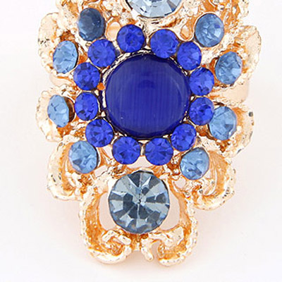 Blue Diamond Hollow Out Ring