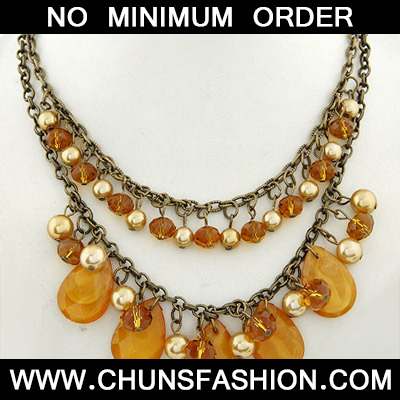 Orange Waterdrop Shape Double Layer Necklace - Click Image to Close