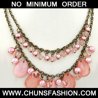 Pink Waterdrop Shape Double Layer Necklace