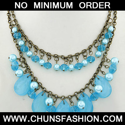 Blue Waterdrop Shape Double Layer Necklace