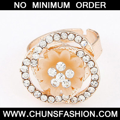 Light Orange Diamond Flower Shape Ring