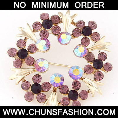 Purple Diamond Flower Shape Brooche