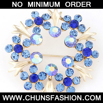 Navy Blue Diamond Flower Shape Brooche