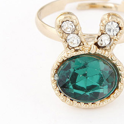 Green Diamond Rabbit Shape Ring