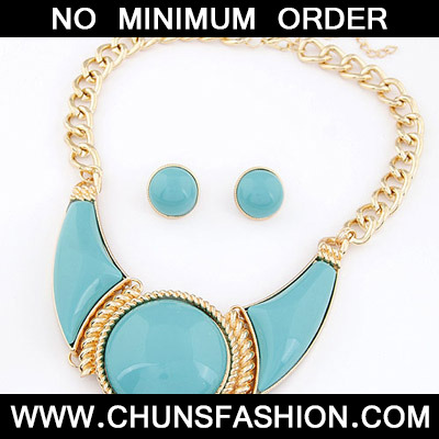 Light Blue Round Shape Jewelry Set