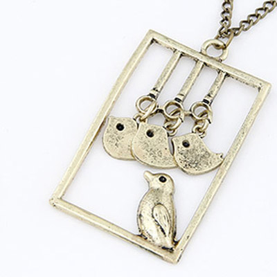 Bronze Bird Square Shape Pendant Necklace