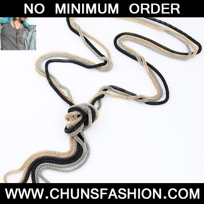 MultiMetal Chains Weave Necklace