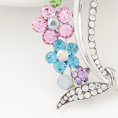 Silver Diamond Flower Brooche