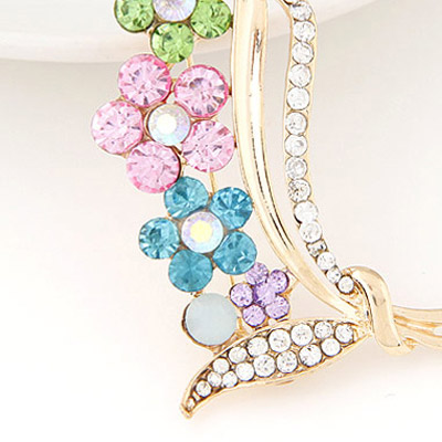 Gold Diamond Flower Brooche
